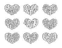 Uppsättning av coctailnamn som märker i hjärta - Gin Fizz, kosmopolit, Pina Colada som är gammalmodig, Mojito, Manhattan vektor illustrationer