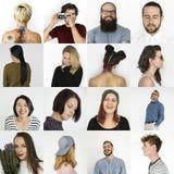 Uppsättning av collage för studio för livsstil för uttryck för mångfaldfolkframsida royaltyfri fotografi