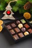 Uppsättning av coloful lyxiga handgjorda konfektar i ask på julbackg royaltyfria foton