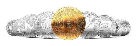 Uppsättning av cryptocurrencies med en guld- bitcoin på framdelen som den mest värdesaken royaltyfri illustrationer