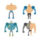 Uppsättning av Cyborgs Folk med mekaniska lemmar Robotic bionisk bo Arkivfoto