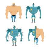 Uppsättning av Cyborgs Robot i människokropp Järn metallskelett av mannen Arkivfoton