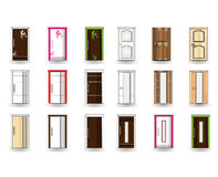 Uppsättning av dörrar på bakgrund Royaltyfri Foto