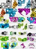 Uppsättning av 3d geometriska sammansättningar, abstrakta bakgrunder för techno Arkivbild