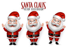 Uppsättning av 3D realistiska Santa Claus Cartoon Character för jul Stock Illustrationer