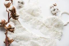 Uppsättning av damunderkläder, beiga med svarta vita band På vit bakgrund på vit bakgrund som dekoreras med bomull, blommar Arkivbilder