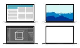Uppsättning av datorer med olika skärmar Royaltyfria Foton