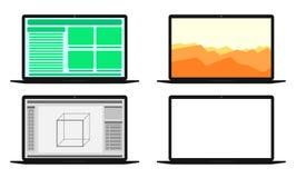 Uppsättning av datorer med olika skärmar Arkivfoton