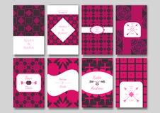 Uppsättning av de dekorativa kortmallarna Royaltyfri Fotografi