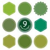 Uppsättning av de gröna emblemen Royaltyfri Fotografi