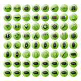 Uppsättning av de gröna symbolerna för dina plats- eller mobilapps Royaltyfri Bild