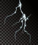 Uppsättning av de isolerade realistiska blixtarna med stordian för design Åska-storm och blixtar Magisk och ljus tändande eff stock illustrationer
