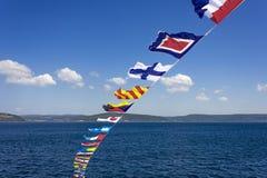 Uppsättning av de marin- flaggorna arkivfoton