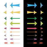 Uppsättning av de olika färgrika pilarna Fotografering för Bildbyråer