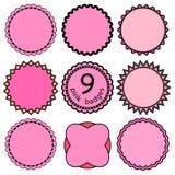 Uppsättning av de rosa emblemen Arkivfoton