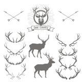 Uppsättning av deerskontur, hjorthuvud och horn på kronhjort Hjortlogodesig royaltyfri illustrationer