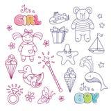 Uppsättning av dekorativa beståndsdelar för översikt för babys design arkivbilder