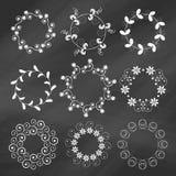 Uppsättning av dekorativa beståndsdelar för blom- design Arkivbild