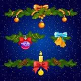 Uppsättning av dekorativa beståndsdelar för julkort Skissa för festliga affisch- eller partiinbjudningar Attributen av stock illustrationer