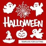 Uppsättning av dekorativa beståndsdelar för 31 oktober - inskriftallhelgonaafton, spindelrengöringsduk, pumpa, spökar och hatt Royaltyfri Foto