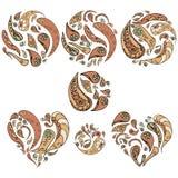 Uppsättning av dekorativa beståndsdelar för tappning Hjärta och rundor Royaltyfri Bild