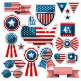 Uppsättning av dekorativa beståndsdelar med amerikanska flaggan Arkivbild