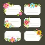 Uppsättning av dekorativa blom- redigerbara etiketter Arkivbilder