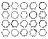 Uppsättning av dekorativa cirkulär- och sexhörningsbeståndsdelar för design i etnisk stil Royaltyfria Bilder