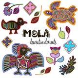 Uppsättning av dekorativa etniska beståndsdelar Mola Style Design Royaltyfri Fotografi