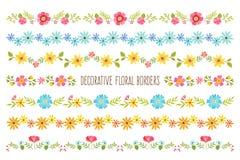Uppsättning av dekorativa färgrika blom- gränser Arkivfoton