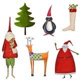 Uppsättning av dekorativa julbeståndsdelar Arkivbild