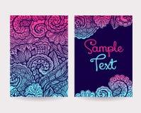 Uppsättning av dekorativa kort Arkivfoto