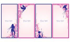 Uppsättning av dekorativa kort vektor illustrationer