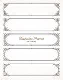 Uppsättning av dekorativa ramar för krusidullar stock illustrationer