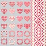 Uppsättning av dekorativa ramar och hjärtor i etnisk stil seamless modell royaltyfri illustrationer