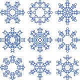 Uppsättning av dekorativa snöflingor. Arkivfoto