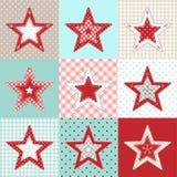 Uppsättning av dekorativa stjärnor för röd och blå patchwork, julbevekelsegrundillustration Royaltyfri Bild