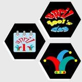 Uppsättning av dekorativa symboler för ferieAprils Fools dag Arkivbilder