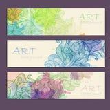 Uppsättning av dekorativa vattenfärgbaner Arkivbild