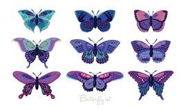 Uppsättning av dekorativa vektorfjärilar Royaltyfri Foto