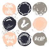 Uppsättning av dekorativt bröllop 9 och romantiska beståndsdelar vektor illustrationer