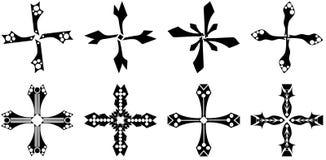 Uppsättning av dekorerade isolerade kors Arkivfoton