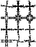 Uppsättning av dekorerade isolerade kors Royaltyfria Bilder