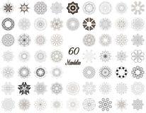 Uppsättning av den abstrakta designbeståndsdelen Runda mandalas in Grafisk mall för din design Dekorativ retro prydnad tecknad ha Arkivbilder