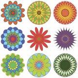 Uppsättning av den abstrakta geometriska prydnaden i färg Stock Illustrationer