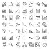 Uppsättning av den analytiska tunna linjen symboler Arkivfoton