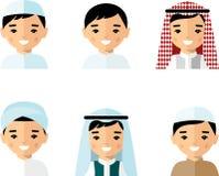 Uppsättning av den arabiska mannen för avatar i plan färgrik stil Arkivfoto