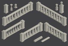Uppsättning av den arkitektoniska beståndsdelbalustraden, vektor Fotografering för Bildbyråer