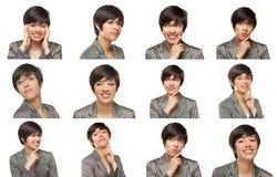 Uppsättning av den attraktiva unga vuxna kvinnlign för blandat lopp med en variationsnolla royaltyfri bild