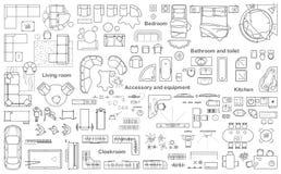 Uppsättning av den bästa sikten för möblemang för lägenhetplan Orienteringen av lägenhetdesignen, teknisk teckning Inre symbol fö